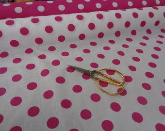 "Hot Pink polka dots 60"" width 1"" size polka dots on white black ground cotton fabric"