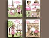 "Paris wall decor toile parisian art fashion girls pink brown  kids art prints 4 8x10"""