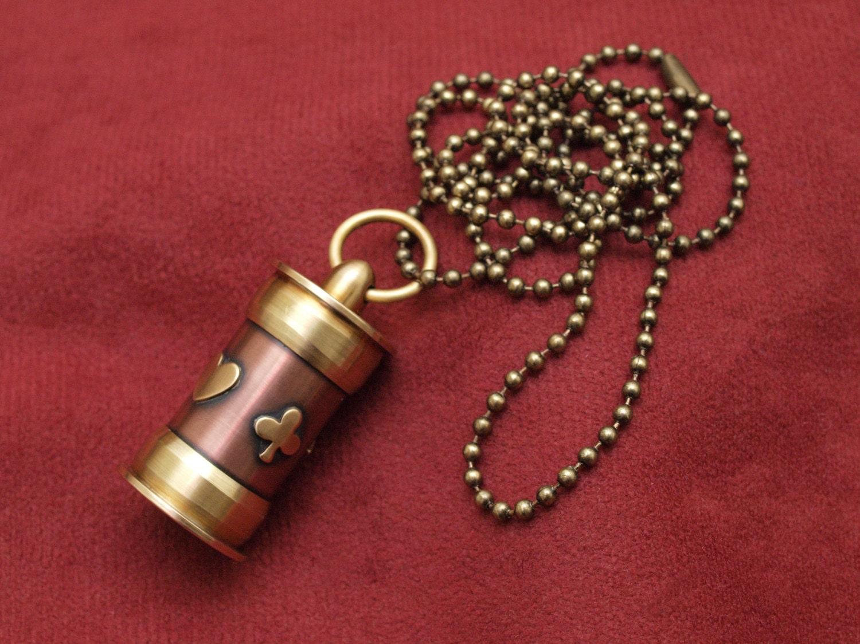 steunk jewelry secret stash necklace lathe turned copper