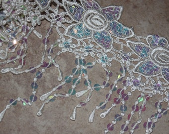 "1 yard Off White Cream Ivory VENISE embroidered floral scalloped fringe Trim Bridal lace iridescent sequins 9"" wide e0"