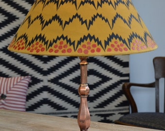 The Lacoona Bolt - an Edwardian Pullman type lamp with a handpainted modern, abstract lamp shade