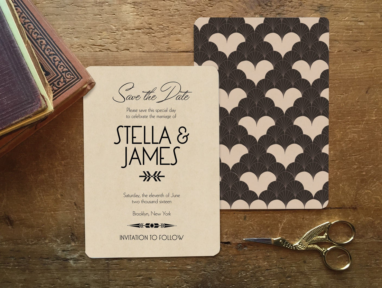 Artist Wedding Invitations: Save The Date Deco Wedding Art Deco Save The Date Save The