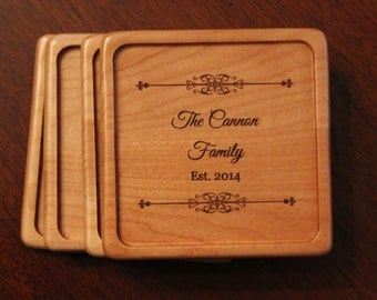 Personalized Wood Coasters, Customized Wood Coasters, Engraved Coasters, Wedding Gift, Maple Coasters, Monogrammed Coaster set