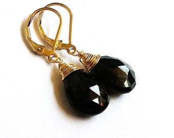 Sale Black Onyx Gold Leverbacks Earrings. Wire wrapped. Stone jewelry