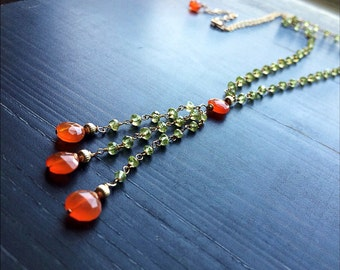 Ooak Gold Necklace. Peridot Carnelian Gemstone. August Birthstone