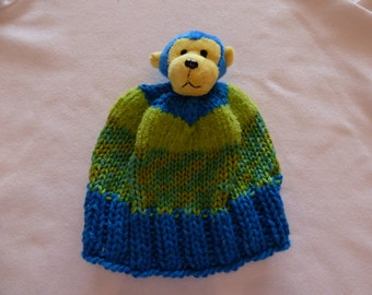 Baby, Toddler hand-knit hat, Monkey