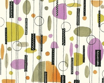 Flirt by Another Point of View for Windham Fabrics - Retro Contemporary Combo in Chartreuse, Tangerine, Olive on Creamy White