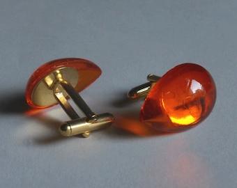 Futuristic cufflinks - glass - gold plated hardware