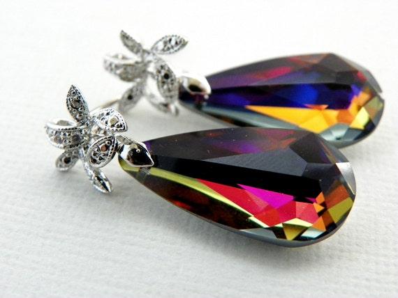 Volcano Swarovski Earrings, Red Blue Drop Earrings,  Briolette Crystal Earrings, Sterling Silver Post, CZ Bridesmaids Gift, Bridal Jewelry.