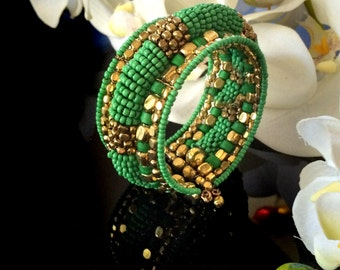Bohemian jewelry,Statement Green Cuff bracelet ,Gold beaded Cuff Bracelet,Boho Chic,Womens bracelet ,Gift for her Taneesi XC130G