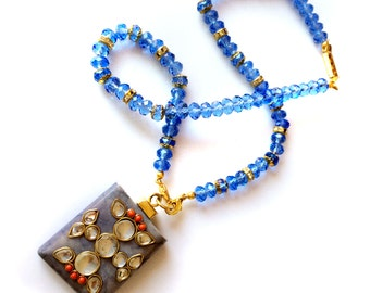 Blue Necklace,Kundan Necklace designer,Gold wirework ,Agate Pendant Necklace by Taneesi Jewelry