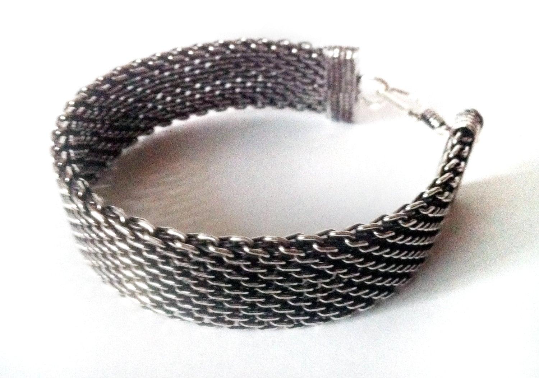 silver bracelet silver mesh bracelet mens jewelry silver