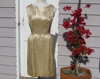 Gold Wiggle Dress Plus Size Golden Sparkly Floral Brocade Bombshell Hourglass Mad Men Jayne Mansfield Marilyn Monroe Curvy Girls Only!