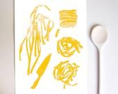 "Fresh Pasta 11""x15"" Art for Kitchen - archival fine art giclée print"