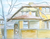 Frank Lloyd Wright house in Buffalo- Darwin D. Martin House Original Watercolor painting