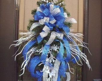 Sale, Hanukkah Wreath, Blue and Silver Swag, Hanukkah Decorations, Door Swag, Ribbon Wreath Swag