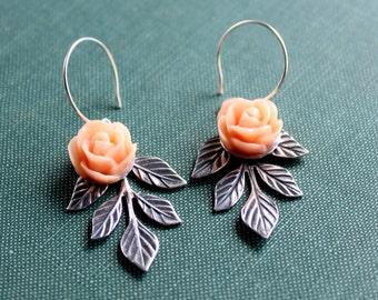 Peachy Peach Spring, Rose, Flower Cameo, Trinity Brass Silver Ox Leaf Branch Earrings