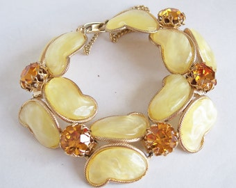 SALE Yellow Lucite Rhinestone Bracelet Thermoset Links 1960's Vintage Gold Tone Butterfly Unique Costume Jewelry