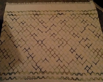 White Swedish Weave Table Cloth or Lap Blanket