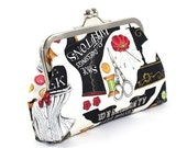 SALE Black and White Sewing Design on this Cotton Clutch