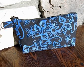Wristlet in Black & Blue Batik Fabric
