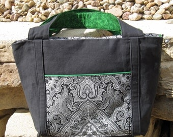 Tote Bag Extra-Large in Black & Green Fabric
