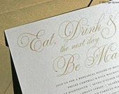 Gold Rehearsal Dinner Invitations Eat Drink and be Married Design