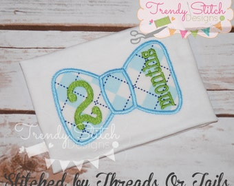 Monthly Bow Tie Applique Design Machine Embroidery Birthday Set 1 2 3 4 5 6 7 8 9 10 11 12 0 Bowtie  INSTANT DOWNLOAD