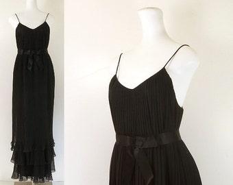 70s evening dress / 70s black chiffon evening gown / vintage 70s long evening dress / 1970s formal dress / by Roland Klein for Marcel Fenez