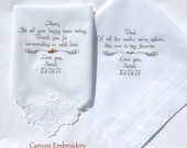 Wedding Gifts, for your PARENTS, MOM and DAD, Embroidered Wedding Handkerchiefs, By Canyon Embroidery
