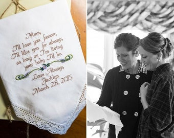 Mother of the Bride Wedding Handkerchief - I'll Love You Forever I'll Like You For Always - By Canyon Embroidery