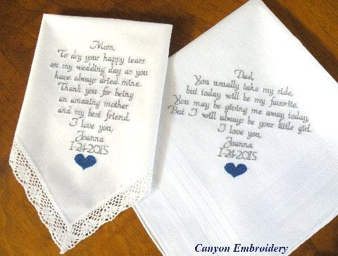 Wedding Gift Bags For Parents : Embroidered Wedding Handkerchiefs Parents Gift by CanyonEmbroidery