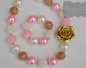 Pink & Gold Chunky Necklace and Bracelet, Chunky Bead Necklace, Bubblegum Necklace, Gumball Necklace, Girl Jewelry, Baby Jewelry