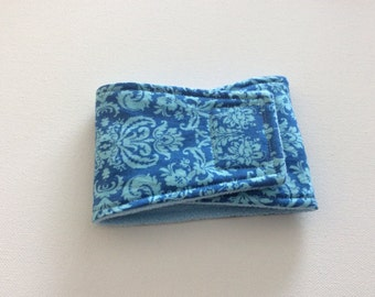 Waterproof, Absorbent, Reusable Belly Bands for Dogs - Dog Diapers - Blue Damask - Available in all sizes