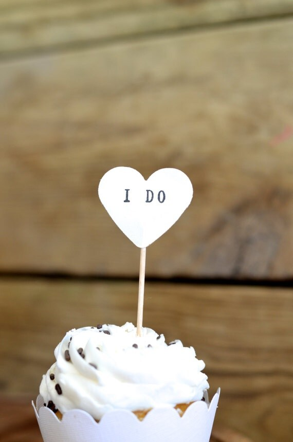 I DO cupcake toppers, 12 hand stamped picks - the ORIGINAL handstamped hearts in vintage, kraft, mint, red, pink or white