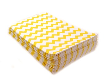 20 YELLOW Chevron party favor bags, food safe yellow chevron bags 5 x 7.5 - birthday party favor bags, wedding favors bags, gift bags