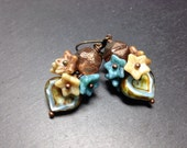 Eau de Nil  Bronze Floral Cluster Heart Earrings