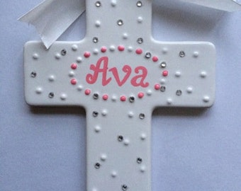 Personalized Wall Hanging Cross- Newborn, Christening,Baptism, Communion , Confirmation Gift