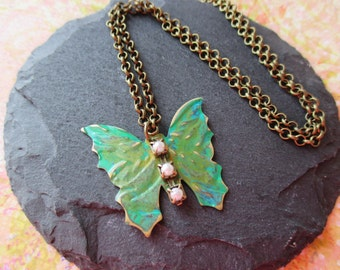 Butterfly Necklace, BOHO Necklace, Butterfly Jewelry, Antique Brass Jewelry, Hand painted Patina Necklace, Nature Botanical Jewelry, OOAK