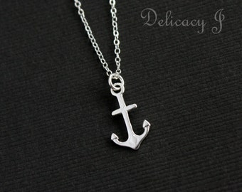 Sterling Silver Anchor Charm Necklace / Anchor Necklace / Anchor Drop Necklace / Simple Anchor Jewelry / Navy Jewelry / Dainty Necklace