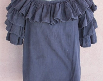 Southwestern Ruffled Sleeves Black Cotton Blouse