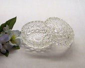 Interlocking Pressed Glass Trinket Bowls, Clear Vanity Bowls, Vanity Dishes, Interlocking Glass Box, Crystal Vanity Dishes