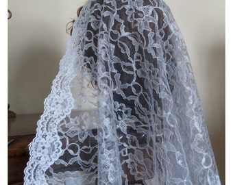 NEW Gray lace Headcovering - Church or Chapel veil mantilla scarf - comes with a plastic comb