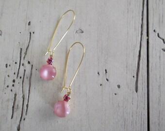 Dainty Gold Earrings Pink Dangle Earrings Delicate Gold Pink Rose Moonstone Rhinestones Minimalist Jewelry