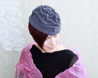 Vintage Hat, Gray Ruched Wool Felt Women's Toque Style Hat with Beaded Embellishment, Designed by Laurie Kennard