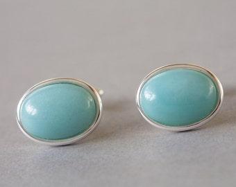Amazonite cufflinks, pale blue cufflinks, aqua blue cuff links