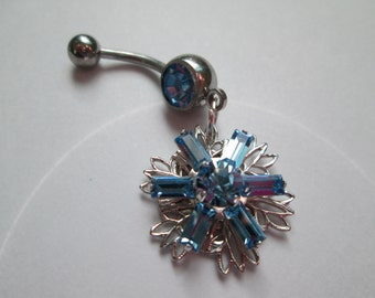ligt blue  swavorski filligree flower belly button, ring body jewelry