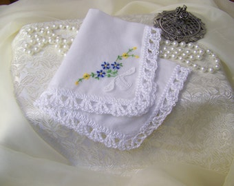 Lace Handkerchief, Hanky, Hankie, Hand Crochet, Bridal, Something Blue, Embroidered, Personalized, Monogrammed, Lacy, Floral Ready to ship,