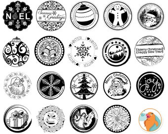 Christmas Circle Stamps, 1 inch PNG Bottlecap Images, + 2, 3 & 8 in, Photoshop Brush + Printable Digital Stamps,  Holiday Cards
