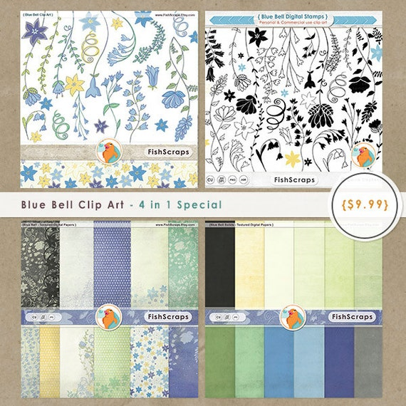 Blue Bell Floral Clip Art and Digital Paper, Flower Graphics & Scrapbooking Background Collection, Purple, Lavender and Yellow